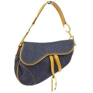 Christian Dior Saddle Hand Bag Indigo Beige Denim
